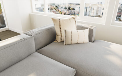A close-up shot of a couch with two pillows