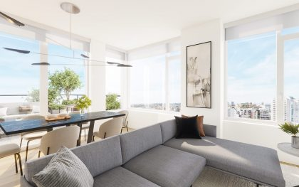 The interior of one of the NEST residences, featuring living and dining areas.