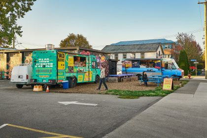 A shot of some food truck stands