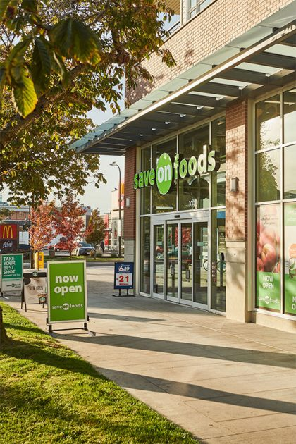 An image of a local grocery store, Save-on-Foods