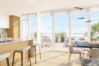 The interior of a NEST residence with a view of the patio.