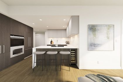 The interior of a NEST residence, mainly featuring the kitchen.